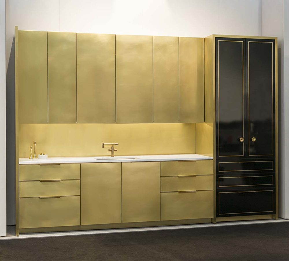 This Single Elevation Shows Brass Upper And Lower Cabinets With An Optional Pantry In A Lacquered Finish The Is Sealed Incredibly Strong