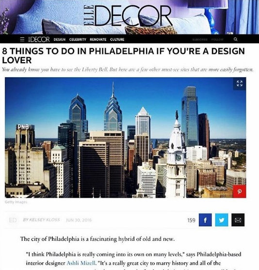Elle Decor 8 Things to do in Philadelphia Mention